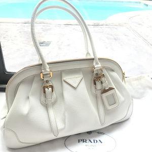 PRADA Cinghiale Leather Bag Bianco